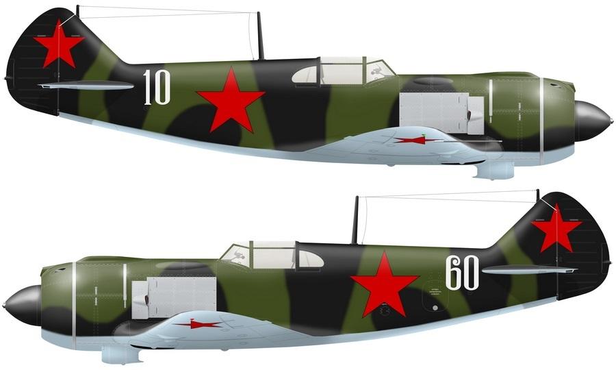 Реконструкция внешнего вида самолётов 263-го ИАП по состоянию на сентябрь-октябрь 1942 года, художник Александр Казаков. При формировании 263-й ИАП в основном получил Ла-5 из 5-й и 6-й серий выпуска, однако попадались машины 2-й, 3-й и 4-й серий. Самолёты 3-й эскадрильи полка несли тактические номера с 21 по 30, а в 1-й и 2-й эскадрильях остались номера по последним цифрам заводского номера, которые наносили на заводе хорошо узнаваемым шрифтом. Ла-5 с заводским номером 37210610 командира 1-й эскадрильи капитана Ракитина имел бортовой номер 10, а самолёт командира полка майора Кузнецова №37210560 — бортовой номер 60 - Кровавая «Искра» генерала Кравченко | Warspot.ru