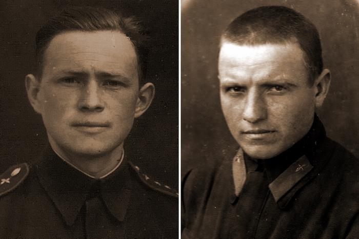 Слева командир 1-й эскадрильи 263-го ИАП капитан Михаил Павлович Ракитин (погиб в авиакатастрофе 6 марта 1945 года), справа его ведомый младший лейтенант Лука Арсентьевич Сапегин, который погиб в воздушном бою 12 августа 1943 года - Кровавая «Искра» генерала Кравченко   Warspot.ru
