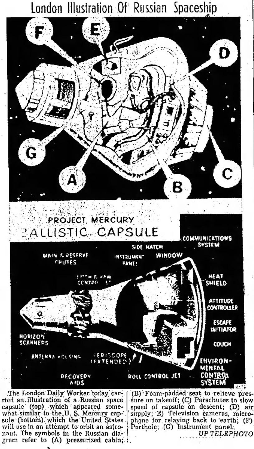 Космические корабли «Восток» и «Mercury». Реконструкция «London Daily Worker» (1961 год).