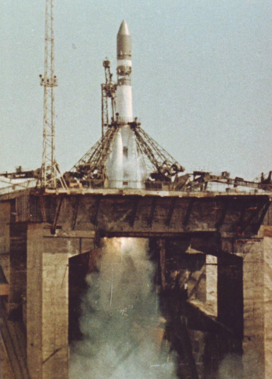 Запуск космического корабля «Восток» 12 апреля 1961 года. Кадр из кинофильма «10 лет космической эры»