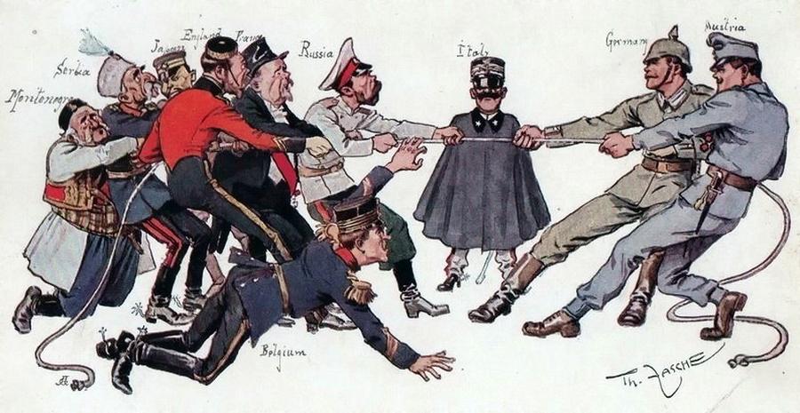 Немецкая карикатура 1914 года отводит Черногории в лице короля Николы последнее место в коалиции против Центральных держав. Впрочем, в карикатурах стран Антанты она выглядела так же - Брат на брата: зеленаши против белашей | Warspot.ru