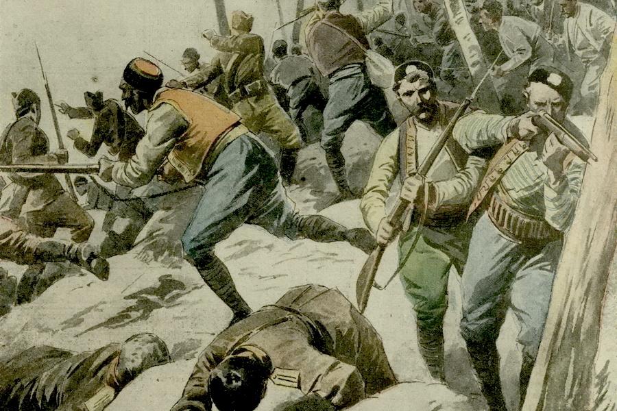 Рисунок из итальянского журнала с изображением боя между черногорскими повстанцами и сербскими войсками - Брат на брата: зеленаши против белашей | Warspot.ru