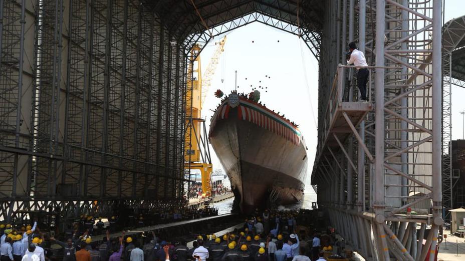 Спуск на воду эсминца INS Imphal. india.com - Индия спустила на воду новый эсминец | Warspot.ru