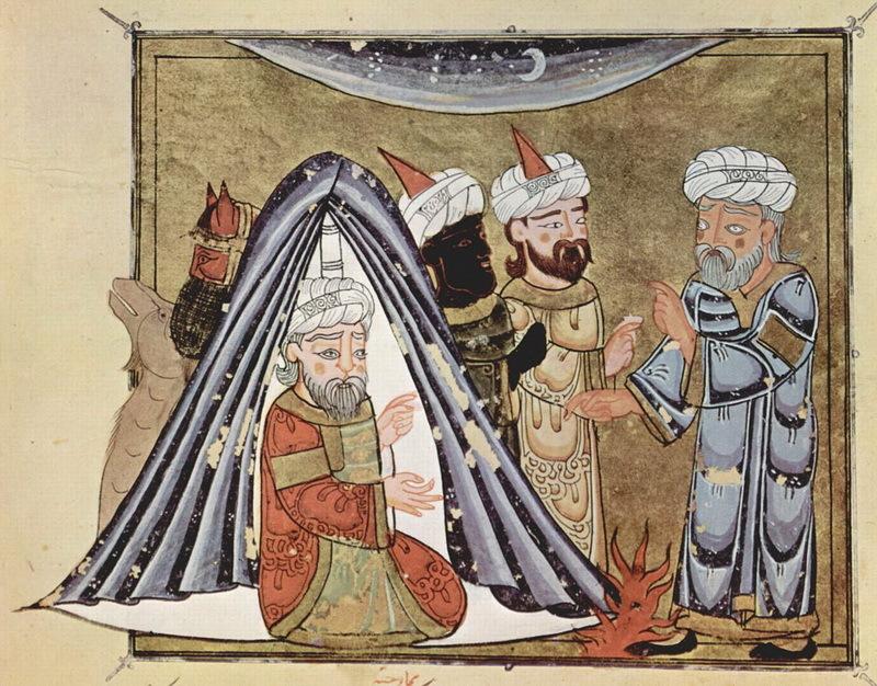 Правитель Гассанидов Харит ибн Габала в своей палатке беседует с Абу Зайдом (справа). Харит ибн Габала был популярным персонажем арабской литературы и истории. ar.wikipedia.org - Арабские федераты у римских границ | Warspot.ru