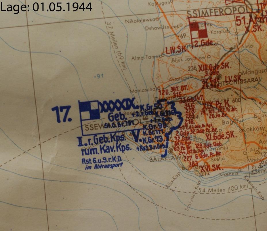 Схема расположения частей 17-й армии в Крыму, 1 мая 1944 года. lexikon-der-wehrmacht.de - Освобождение врат Севастополя | Warspot.ru