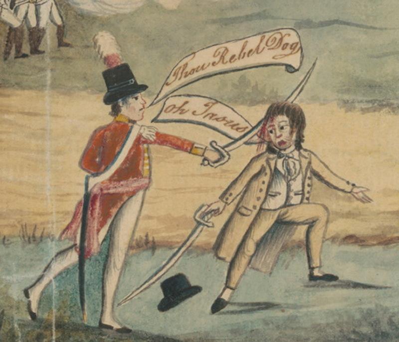 Один из англичан ударяет Филиппа Каннингема саблей. Фрагмент приведённой выше картины неизвестного художника. dictionaryofsydney.org - Несостоявшийся ирландский реванш | Warspot.ru