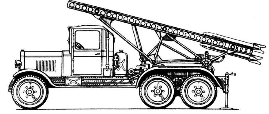 Серийная пусковая установка БМ-13 на шасси автомобиля ЗИС-6. epizodsspace.airbase.ru - Огненный дебют «Катюш» | Warspot.ru