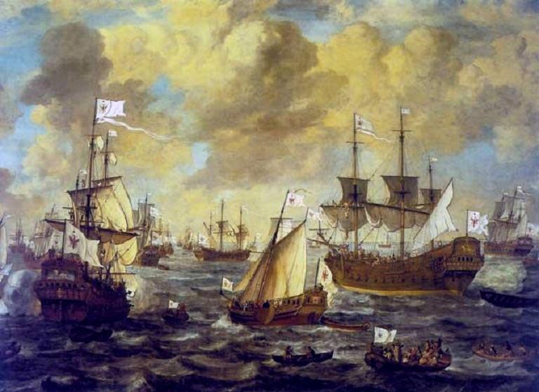 Бранденбургский флот в море. Картина нидерландского художника Ливе Пиитерсзона Версхююра, 1684 год. deutsche-schutzgebiete.de
