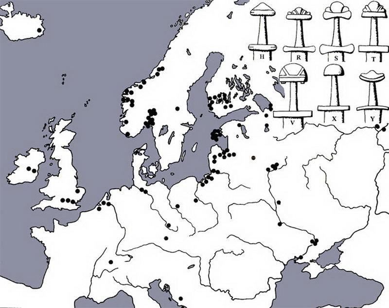 Распространение мечей с надписью ULFBERHT. historic.ru - Имя на мече   Warspot.ru