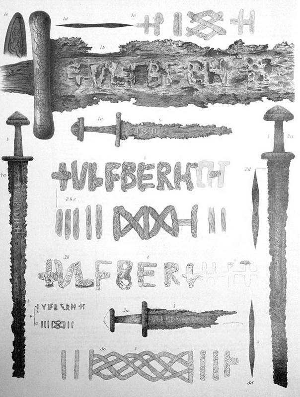 Мечи с подписью ULFBERHT из коллекции Бергенского музея. Таблица I из работы А. Лоранжа (1889). en.wikipedia.org - Имя на мече   Warspot.ru