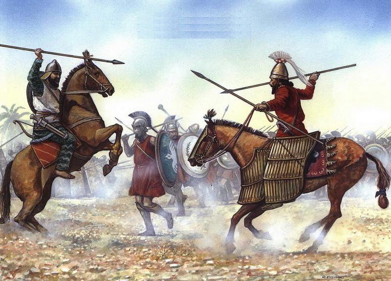 Битва при Кунаксе. Гвардеец Кира (справа) атакует вавилонского всадника из армии Артаксеркса (слева). Посередине изображены греческие наёмники, хотя они должны находиться вдалеке от места столкновения конницы. profesorjuliodapenalosada.blogspot.com - Анабасис: по следам греческих наёмников | Warspot.ru
