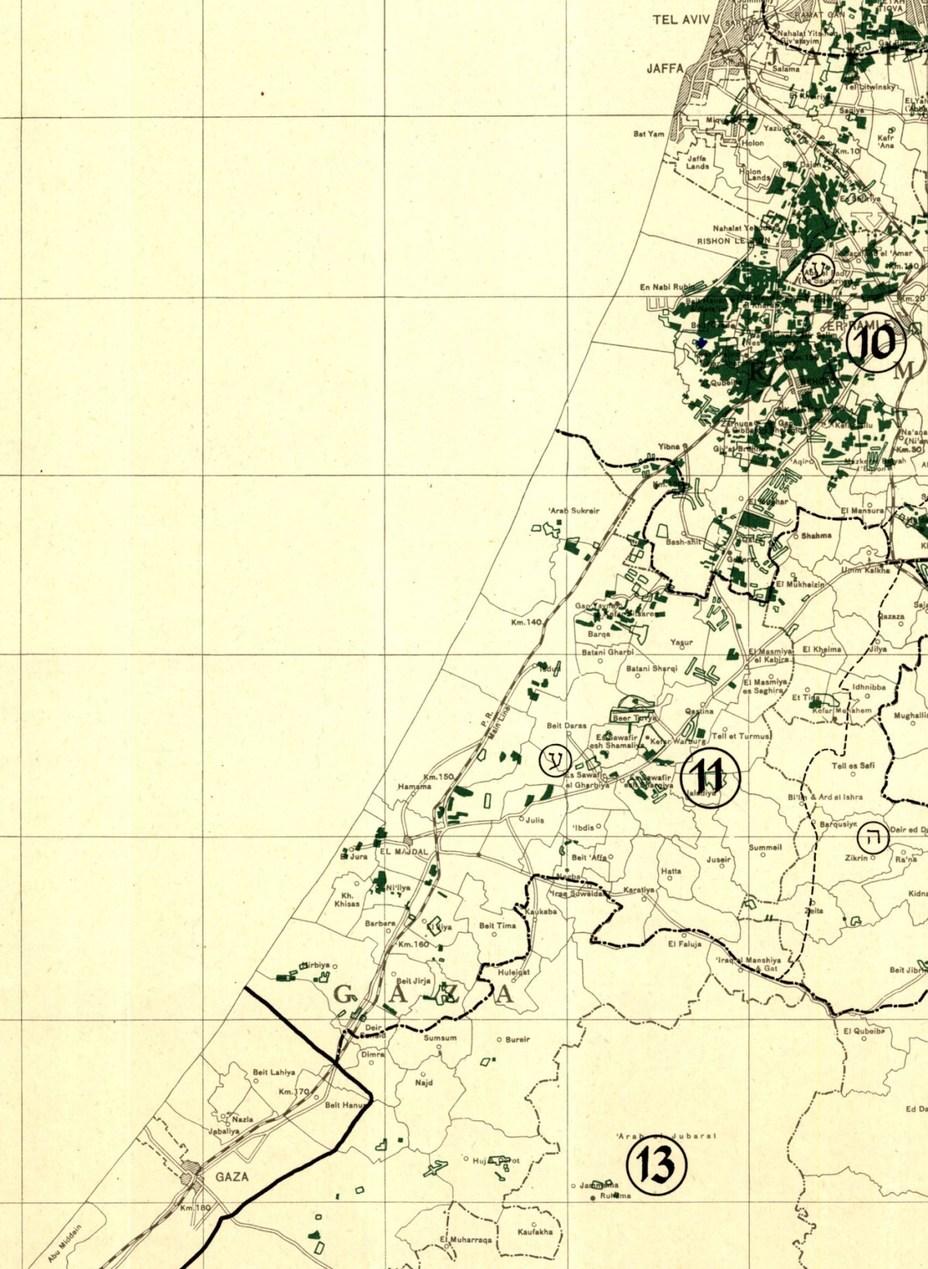 Побережье Палестины от Яффы до Газы. Фрагмент израильской мелиоративной карты 1952 года - Первый бой израильского флота | Warspot.ru