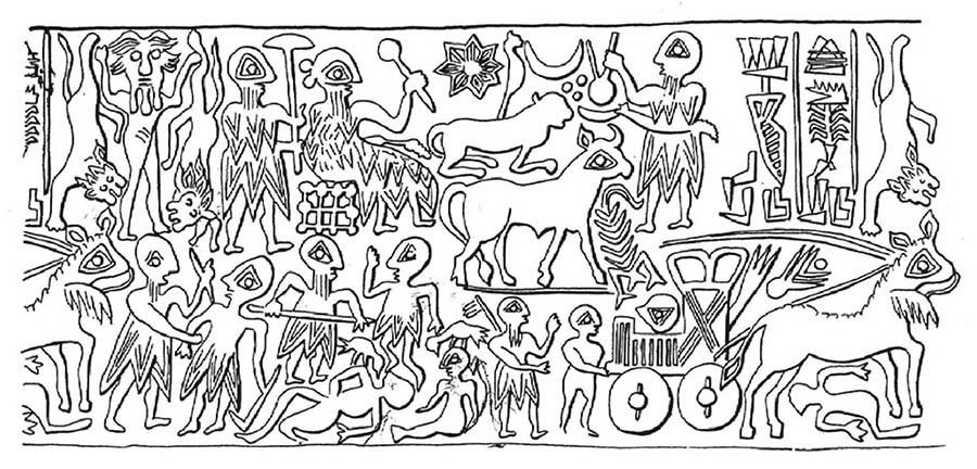 Прорисовка печати лугаля нома Мари по имени Ишки-Мари, около 2500 лет до н.э. aly-abbara.com - Война родилась здесь | Warspot.ru