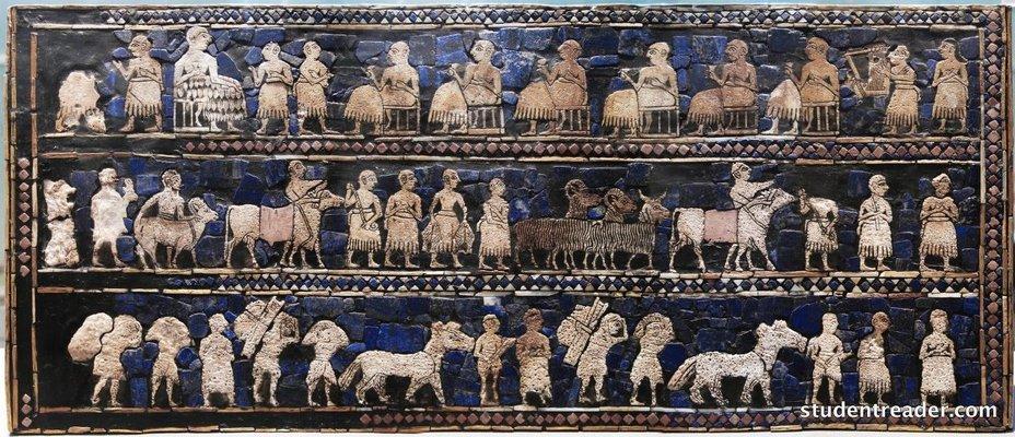 Один из самых известных шумерских артефактов, условно именуемый «Штандартом из Ура», возможно, демонстрирует данников, проигравших войну studentreader.com - Война родилась здесь | Warspot.ru