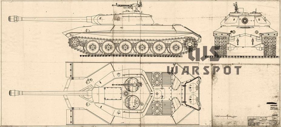 Проект Объекта 252 с модернизированной носовой частью корпуса, конец ноября 1944 года - Не попавший в амплитуду   Warspot.ru