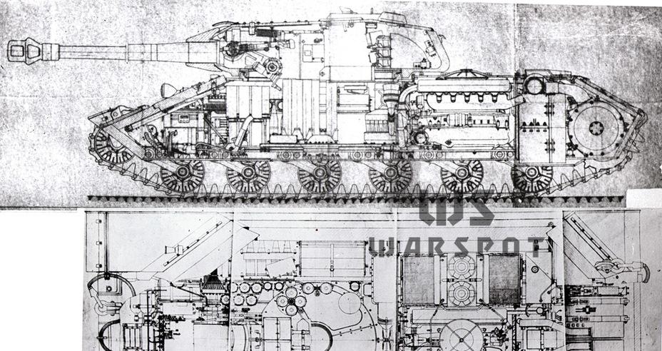 Продольный и поперечный разрез Объекта 253. Интересно, что на продольном разрезе показана 122-мм пушка Д-30, причём с дульным тормозом «по типу Фердинанд» - Не попавший в амплитуду   Warspot.ru