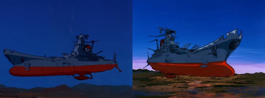 Космический линкор «Ямато», каким он появился в оригинальном сериале. Скриншоты из аниме