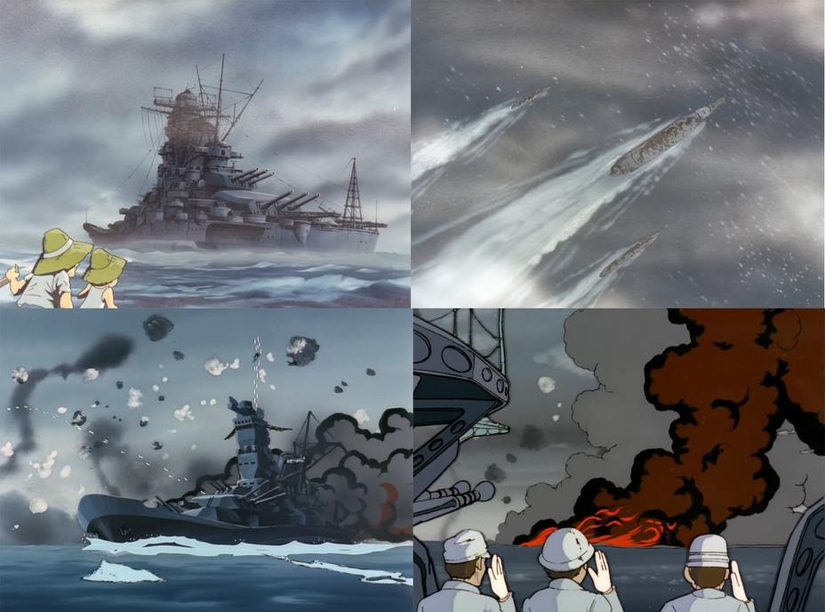 Любопытно, что в начале оригинального сериала 1974 года присутствовала реалистичная сцена гибели настоящего линкора «Ямато» в 1945 году. В ремейке 2012 года от этих подробностей отказались. Скриншоты из аниме
