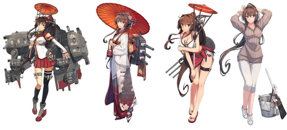 Различные костюмы «Ямато» в игре Kantai Collection. Дизайнер персонажа — Ёсинори Сидзума. kancolle.fandom.com