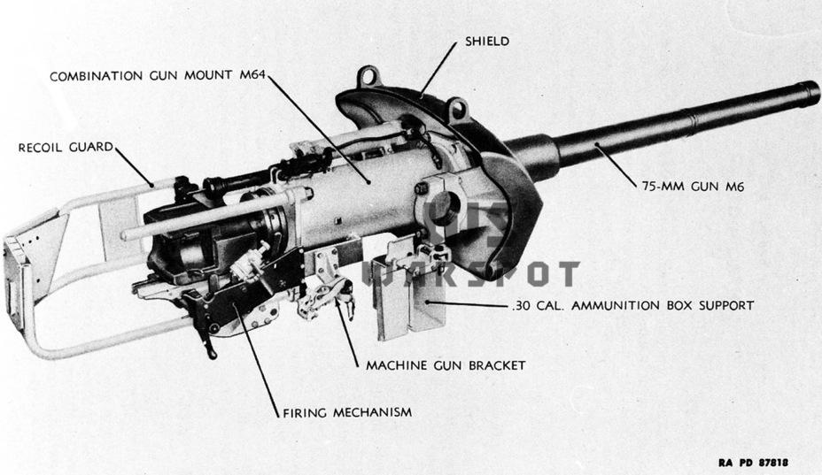 75-мм танковая пушка M6 на орудийной установке M64, финальная версия танкового орудия на базе авиационной системы - Лёгкий и долгоиграющий   Warspot.ru