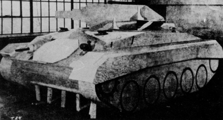 Полноразмерный макет Light Tank T24. На тот момент отрабатывалось шасси, поэтому башня выглядела условно - Лёгкий и долгоиграющий   Warspot.ru