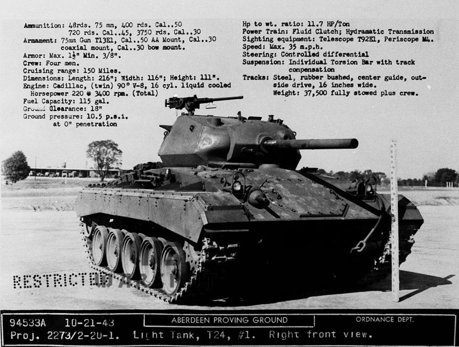 Первый опытный образец Light Tank T24. Абердинский полигон, октябрь 1943 года - Лёгкий и долгоиграющий   Warspot.ru
