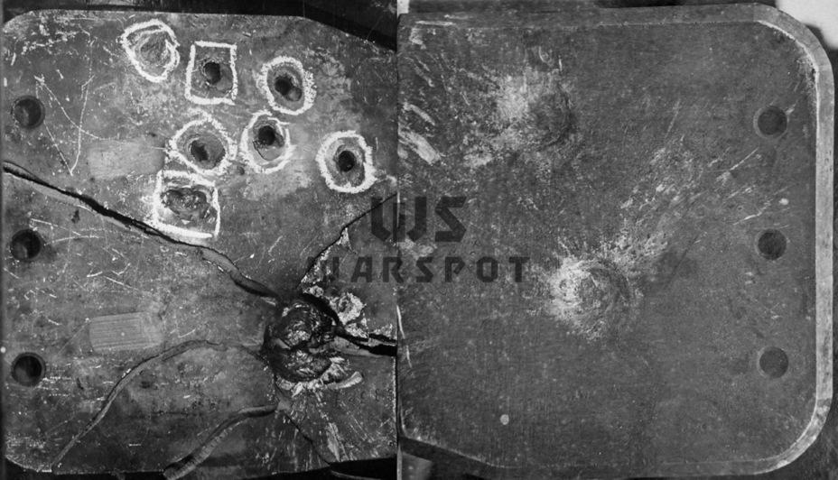 Первое же попадание в немецкую деталь раскололо её. Для сравнения, та же деталь из советской стали, которую обстреляли теми же снарядами с той же дистанции - Теория бронетанковых заблуждений | Warspot.ru