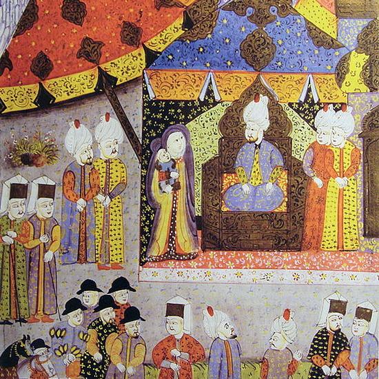 «Султан Сулейман принимает королеву-вдову Изабеллу и её сына Иоанна Сигизмунда». Миниатюра неизвестного художника в книге «Сулейман-наме», ок. 1558 года - «Вся Венгрия султану принадлежит…»   Warspot.ru