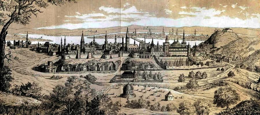 Буда и Пешт на рисунке 1649 года. Наблюдатель смотрит примерно на восток. Высокая гора справа под литерой «G» — гора Св. Геллерта - «Вся Венгрия султану принадлежит…»   Warspot.ru