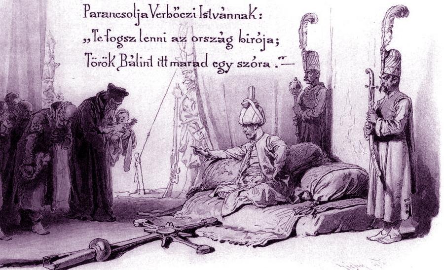 Художественное изображение султанской расправы. Рисунок М. Зихи к книге баллад Я. Арань, изданной в 1898 году - «Вся Венгрия султану принадлежит…»   Warspot.ru