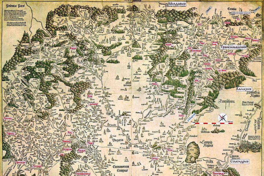 Основные места событий 1541 года на фрагменте карты «Tabula Hungariae» 1528 года. Направление на север примерно на 45° против часовой стрелки. Красные надписи без указателей относятся к городам над ними; черные – земли и области - «Вся Венгрия султану принадлежит…»   Warspot.ru