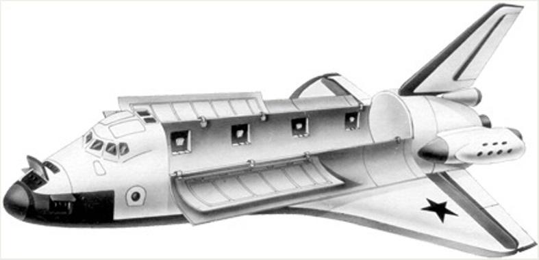 Общий вид орбитального самолёта ОК-92. Обработанная иллюстрация из Технической справки «Многоразовая космическая система с орбитальным кораблём ОК-92» buran.ru - Полёт «Бурана» | Warspot.ru