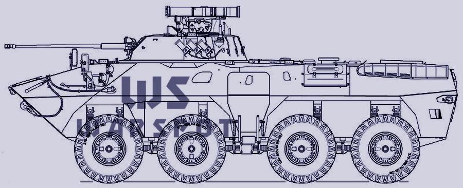 Боковая проекция БТР-90, сделанная автором статьи после показа бронетранспортёра на выставке в Нижнем Новгороде в 1994 году - «Росток», не пробивший асфальт | Warspot.ru
