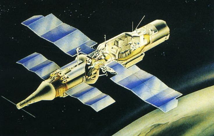 Орбитальная станция «Алмаз» (11Ф71) с транспортным кораблём снабжения ТКС (11Ф72). Плакат из архива НПО машиностроения - «Алмазный» корабль   Warspot.ru