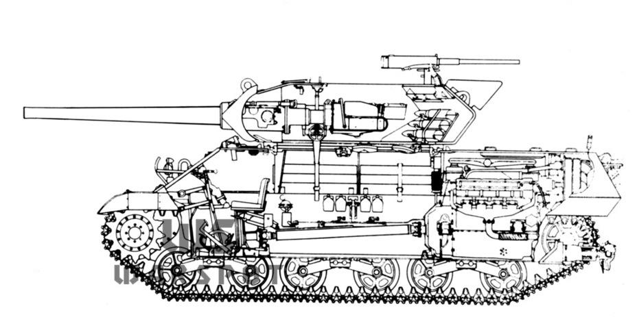 Продольный разрез GMC M10A1 - Средний истребитель по-американски | Warspot.ru