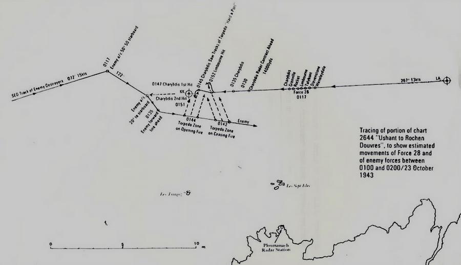 Схема боя в Ла-Манше 23 октября 1943 года - «Мюнстерланд»: трудная мишень | Warspot.ru