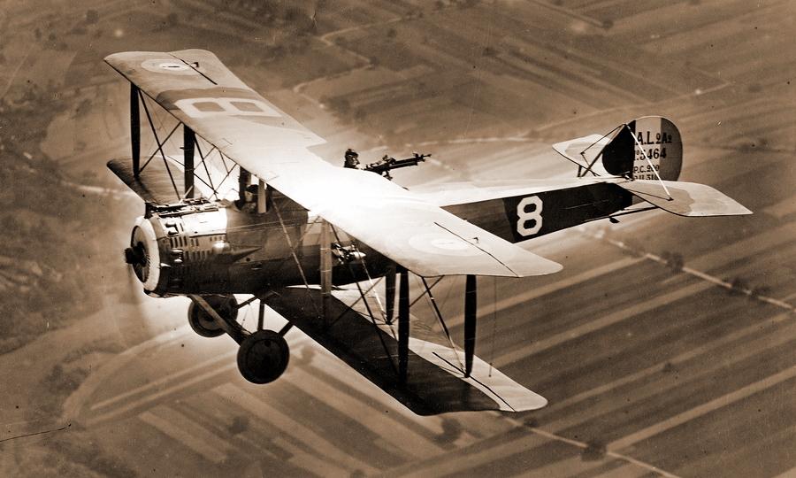 Французский разведчик «Сальмсон» 2A2 в полёте над прифронтовым районом, 1918 год - Глаза и уши западного фронта   Warspot.ru