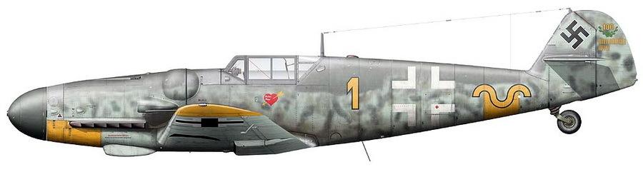 «Мессершмитт» Bf 109G-6 командира эскадрильи 9./JG 52 лейтенанта Эриха Хартмана. Художник Клаэс Сундин - Хартман над Яссами: фантазии в погоне за «мечами» | Warspot.ru