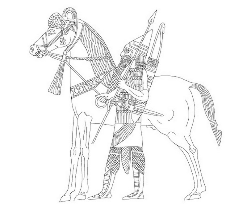 ​Ассирийский всадник-царский телохранитель. Источник: Dezső, T. The Assyrian Army I. The Structure of the Neo-assyrian Army as Reconstructed from the Assyrian Palace Reliefs and Cuneiform Sources 2. Cavalry and Chariotry / Т. Dezső. — Budapest, 2012 - «Я встал во главе моего войска…»  | Warspot.ru