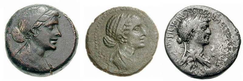 Портреты Клеопатры VII на различных монетах, отчеканенных в её правление в Египте и в Сирии. ru.wikipedia.org - Римляне в стране фараонов | Warspot.ru
