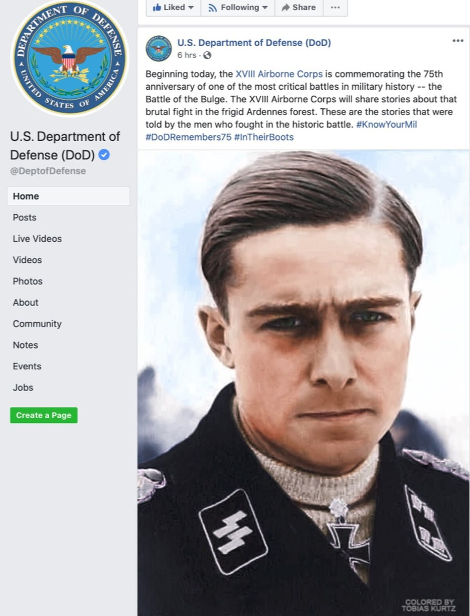 Скриншот публикации на официальной странице Минобороны США в Facebook - Фейлы-2019 | Warspot.ru