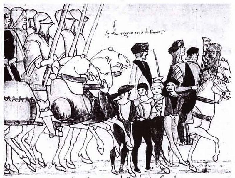 Карл VIII покидает Неаполь. Рисунок из неаполитанской хроники. Источник: Biancardi, S. La chimera di Carlo VIII (1492–1495) / S. Biancardi. — Novara, 2009. — Р. XXVII - Яростная битва на реке Таро | Warspot.ru