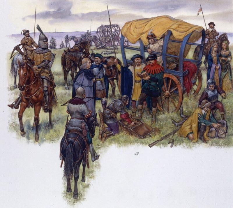 Страдиоты захватывают французский обоз. Страдиоты (стратиоты) — это лёгкая венецианская кавалерия, набиравшаяся на Балканах, как правило, из числа греков и албанцев. По описанию Ф. де Коммина, они «напоминают мусульманских конников (…) люди они суровые и круглый год спят на открытом воздухе, как и их лошади». Использовались, как правило, для быстрых атак, набегов на вражеские войска. По сообщению А. Бенедетти, страдиоты имели привычку обезглавливать врагов, поскольку получали по дукату за каждую голову. pinterest.com - Яростная битва на реке Таро | Warspot.ru