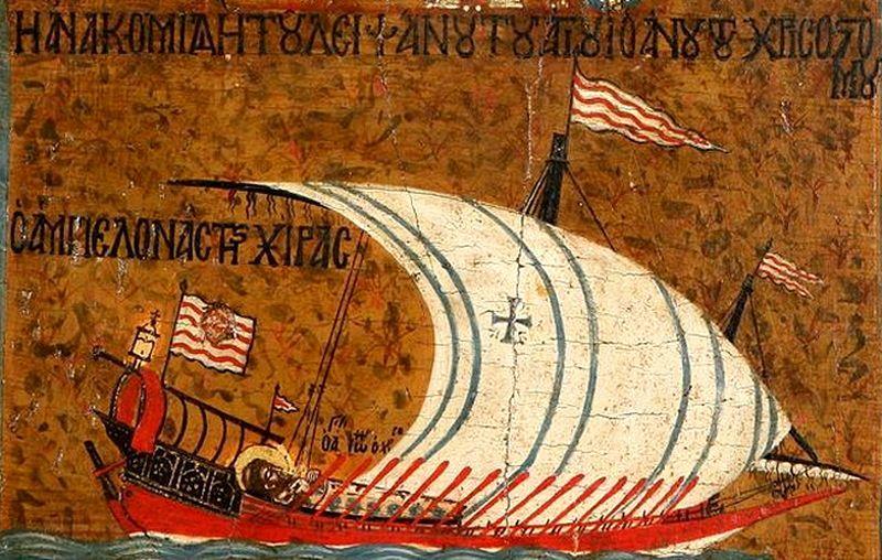 Средиземноморская галера. Изображение на византийской иконе XIV века. wikimedia.org - Наёмники, пробуждавшие железо | Warspot.ru