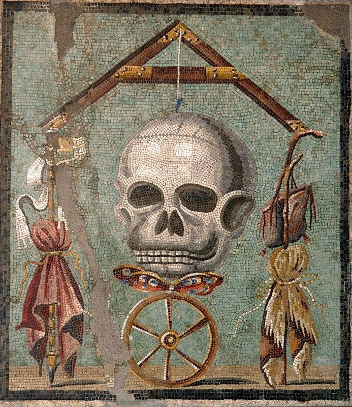 Memento mori. Мозаика из Помпей, 30 год до н.э. — 14 год н.э. Национальный археологический музей, Неаполь. pinterest.ch