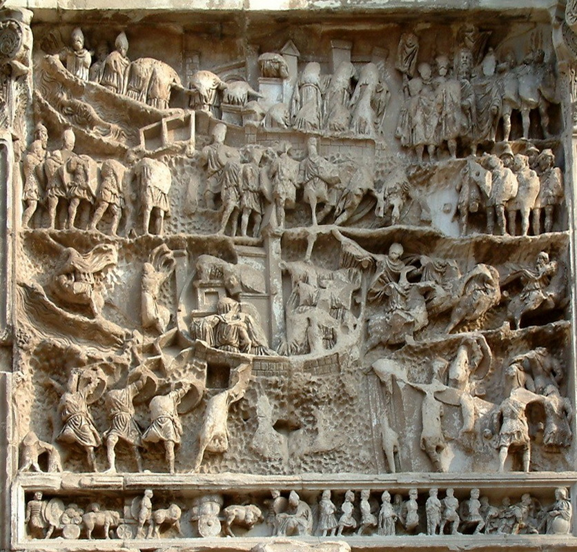 Панель III триумфальной арки Севера в Риме показывает приближение римлян к Селевкии-на-Тигре. Парфяне верхом бегут из города (нижняя часть), остальные жители взывают к Северу (центральная часть), который триумфально входит в город (верхняя часть). it.wikipedia.org - Парфянская война Северов | Warspot.ru