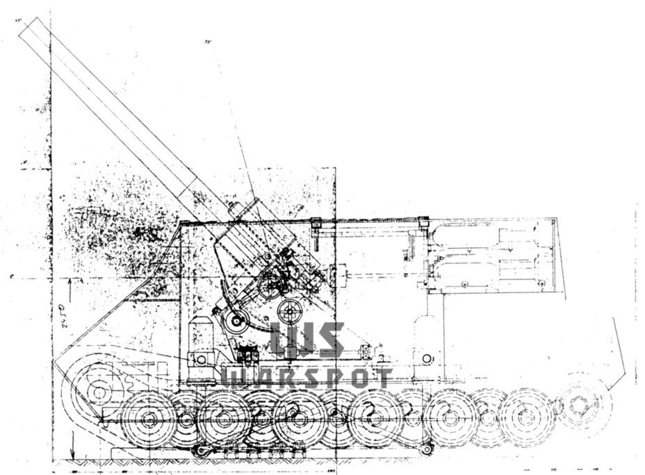 Project self-propelled mortars 30.5 cm schwerer Granatenwerfer in Selbstfahrlafette, early 1945 - Overgrown cricket |  Warspot.ru
