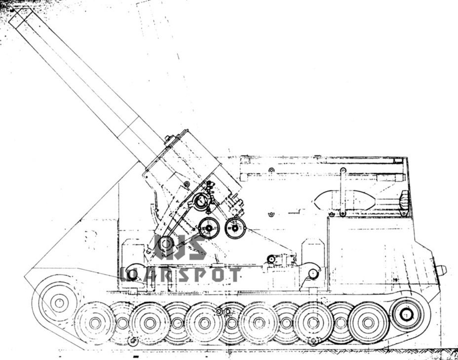 A project was also developed for the self-propelled 420 mm mortars 42 cm schwerer Granatenwerfer in Selbstfahrlafette - Overgrowth cricket |  Warspot.ru