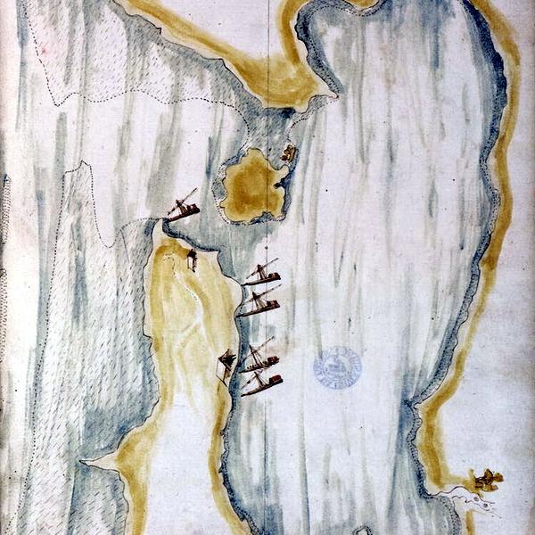 Бухта Ареквеа на рисунке в «Дневниках Красного моря» Жуана де Кастро. Север внизу - «Если в Суэце не буду, лучше самому сгореть…»   Warspot.ru