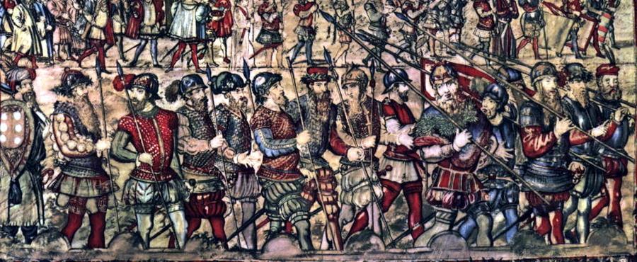 Португальская пехота середины XVI века на гобелене того времени - «Если в Суэце не буду, лучше самому сгореть…»   Warspot.ru